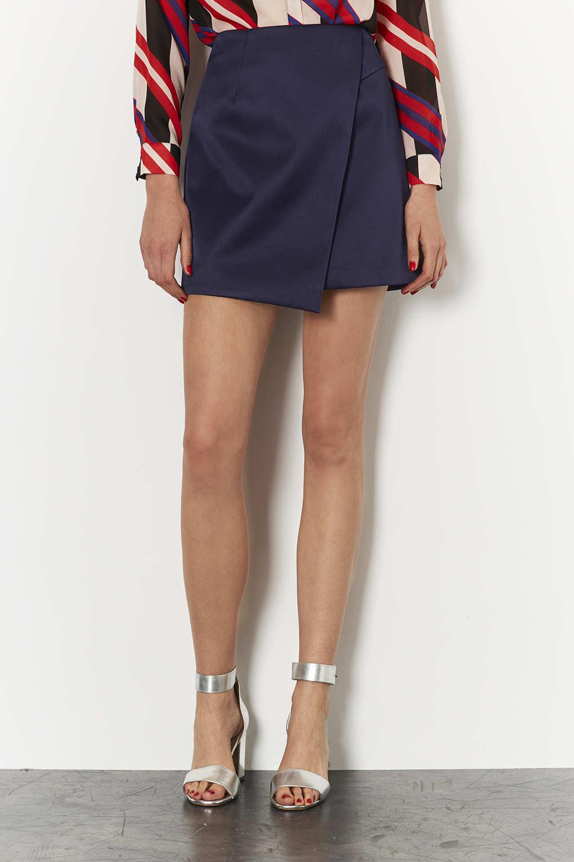 Lyst Topshop Navy Lux Satin Wrap Skirt In Blue
