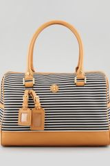 Tory Burch Viva Striped Satchel Bag Blackwhite - Lyst