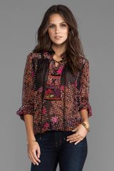 Tracy Reese Silk Prints Laceup Blouse in Black - Lyst