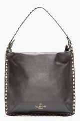Valentino Black Studded Leather Rock-stud Tote - Lyst