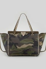 Valentino Rockstud Camo Canvasleather Medium Tote Bag Green - Lyst