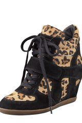 Ash Bonno Leopardprint Calf Hair Wedge Sneaker - Lyst