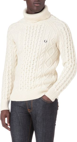 Fred Perry Rollneck Cable Knit Jumper In Beige For Men