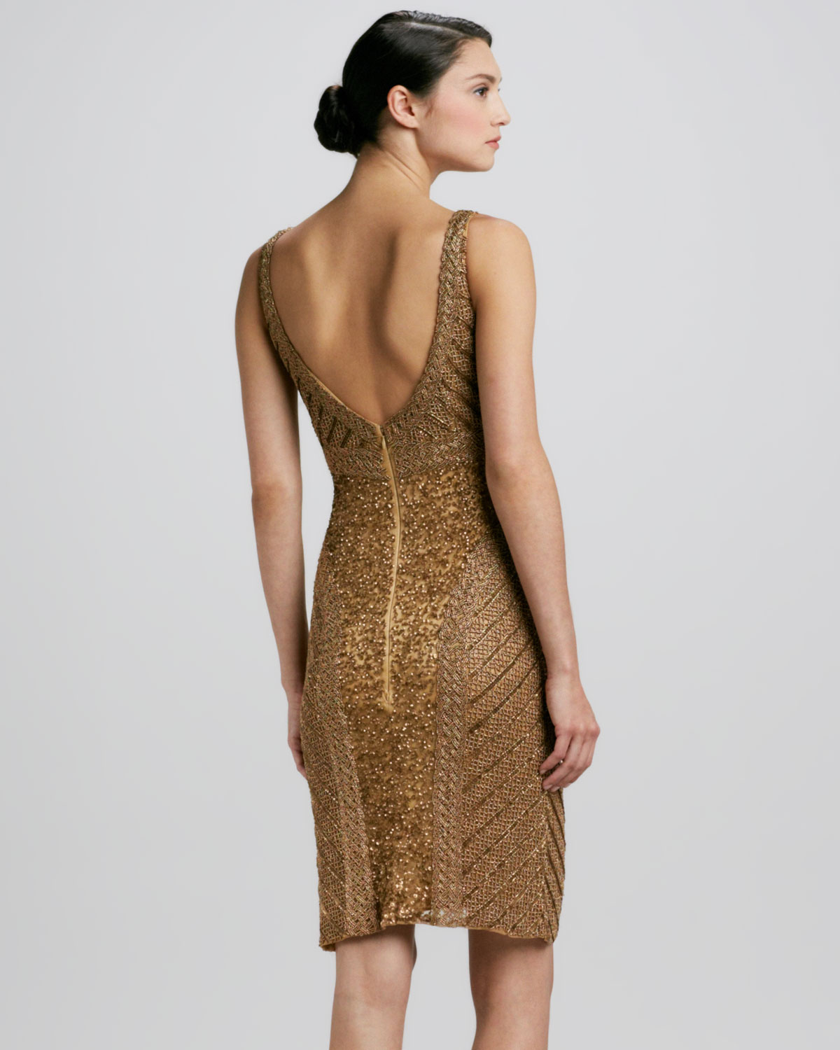 Lyst - Theia Beaded Sequined Cocktail Dress in Brown