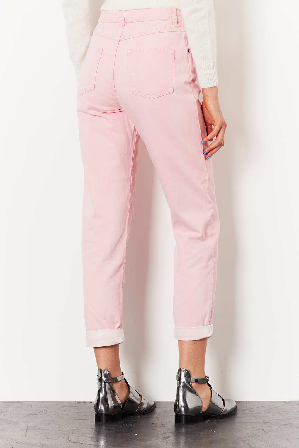Lyst Topshop Moto Pink High Waisted Mom Jeans In Pink