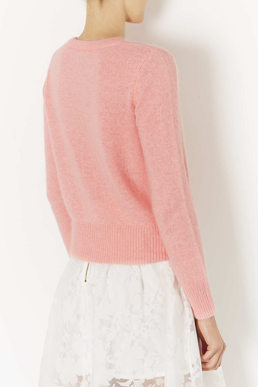 Topshop Knitted Angora Fluffy Jumper in Pink | Lyst