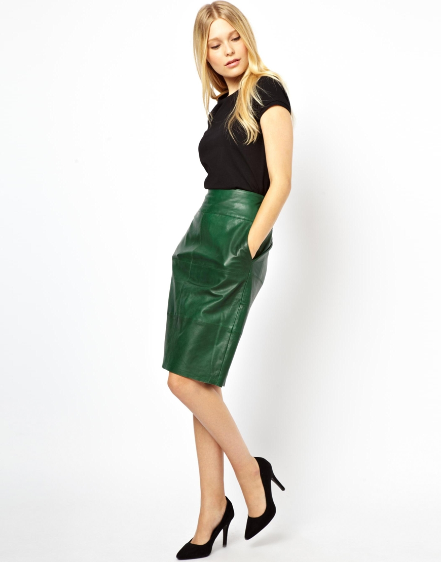 Urbancode Leather Pencil Skirt in Green | Lyst