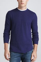 Vince Long Sleeve Thermal Shirt Royal - Lyst