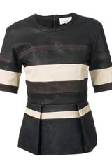 3.1 Phillip Lim Panelled Leather Top - Lyst