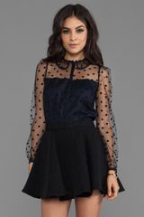 Alice By Temperley Celia Top in Navy - Lyst