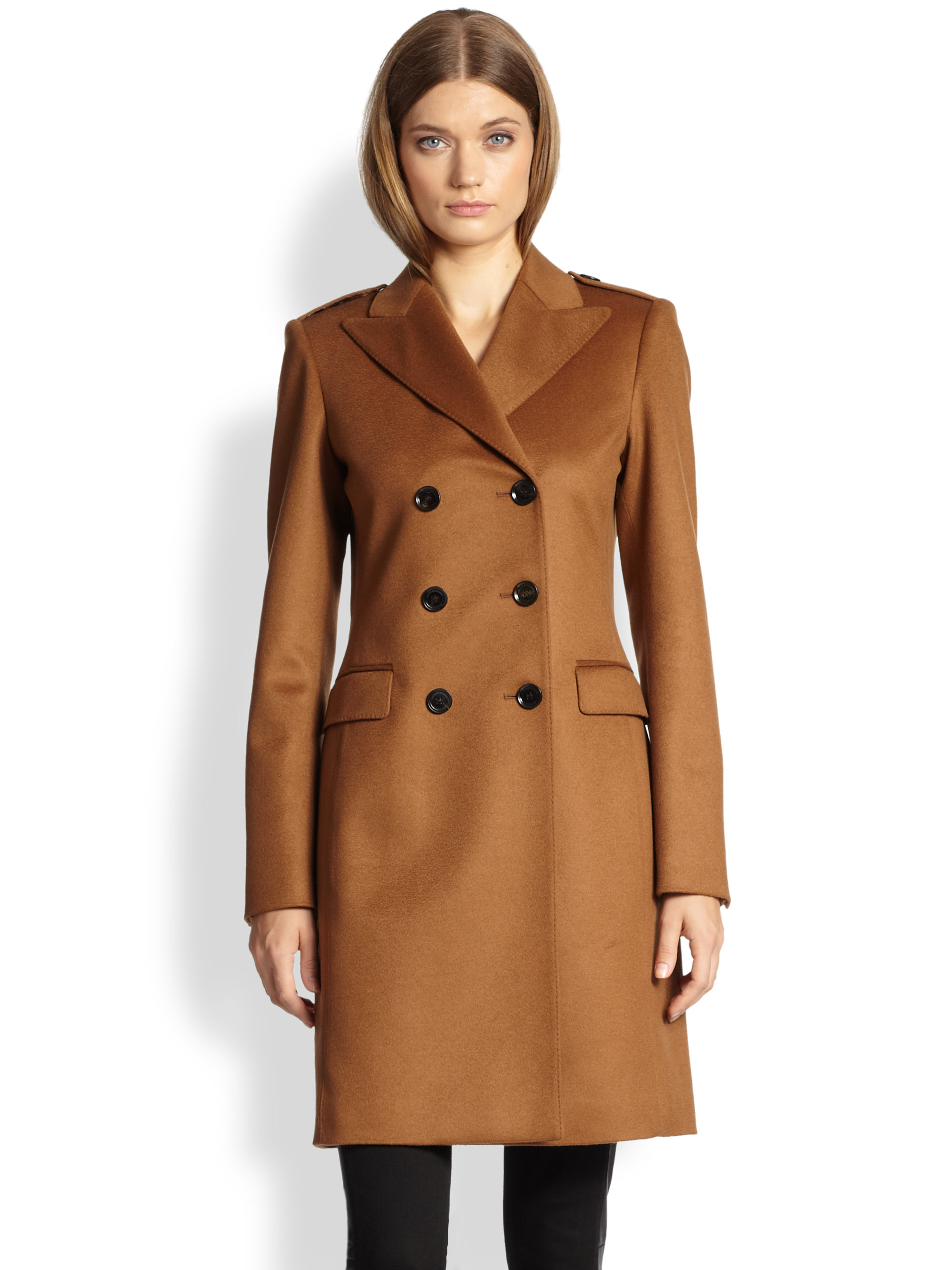 Burberry Double-breasted Cashmere Coat in Brown | Lyst