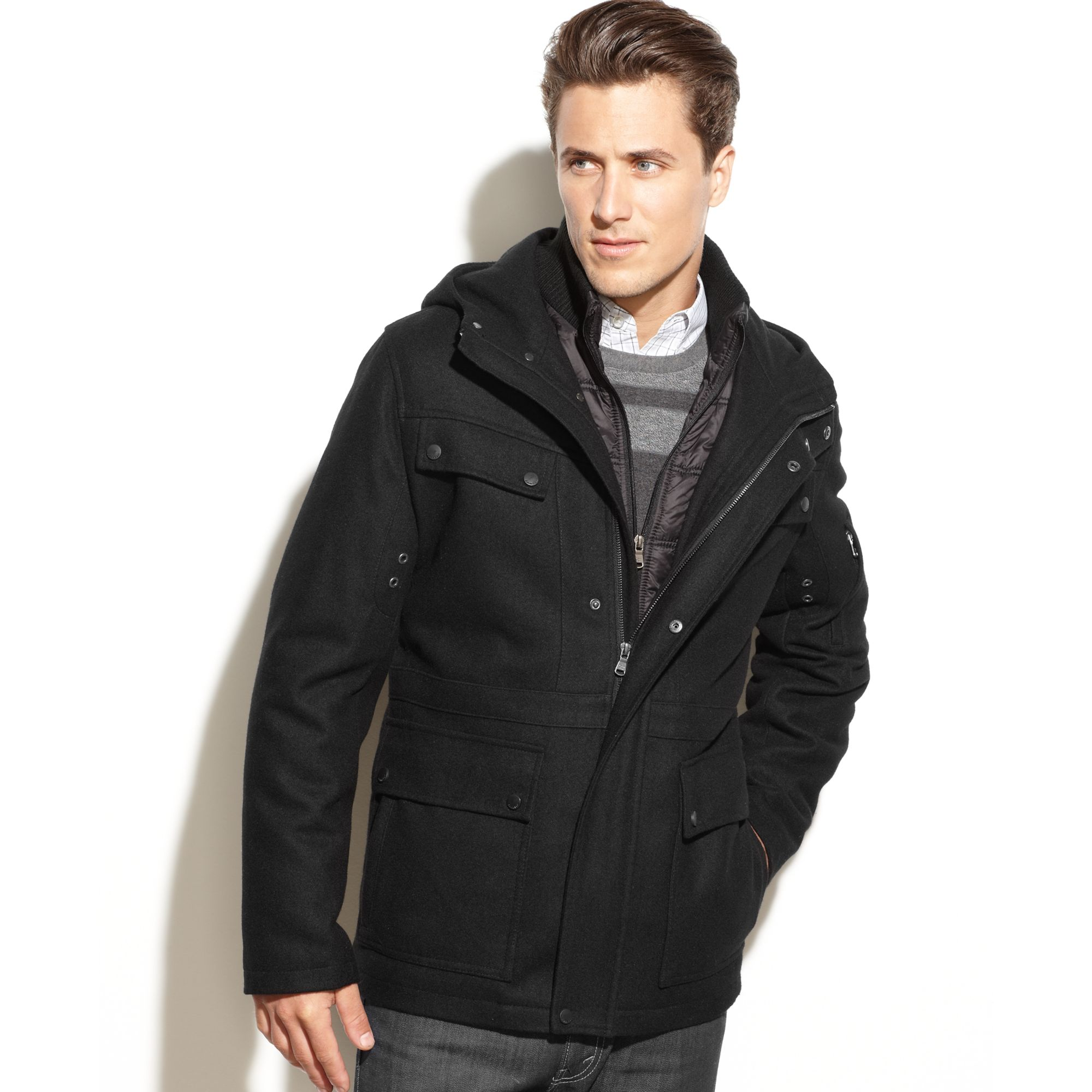 Lyst Calvin Klein Hooded Cire Puffer Bib Woolblend Coat