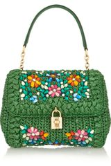 Dolce & Gabbana Miss Dolce Medium Embellished Raffia and Leather Shoulder Bag - Lyst