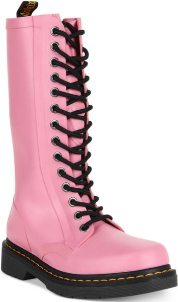 Dr. Martens Shower Wellington Boots in Pink (Matte Pink)