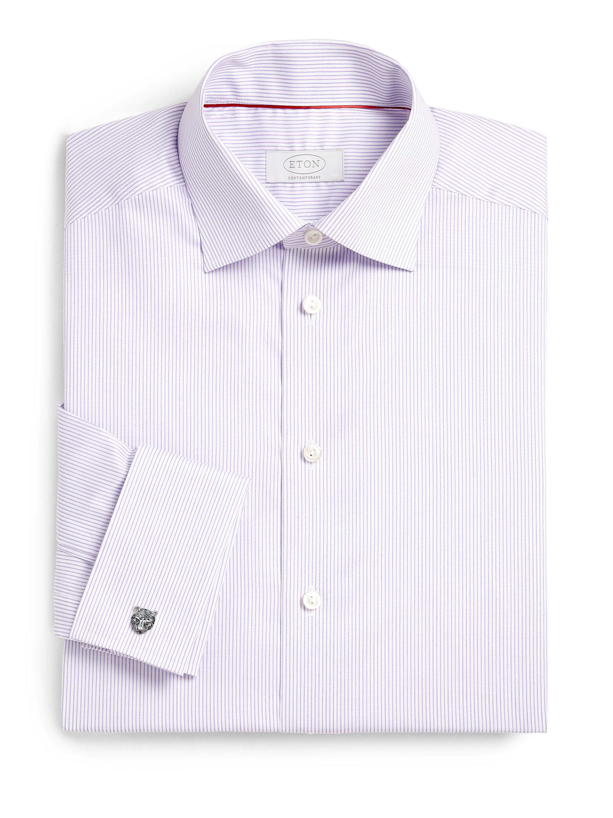 Eton of sweden contemporaryfit fine striped dress shirt in for Purple striped dress shirt