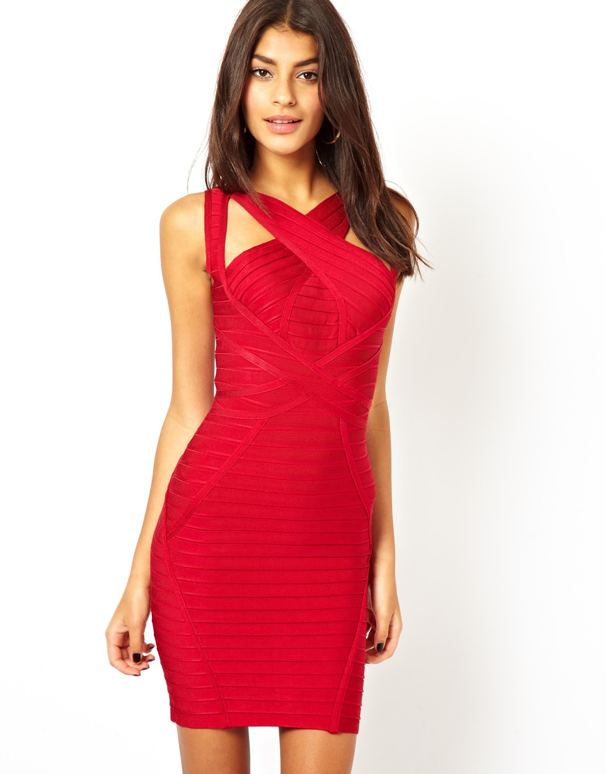 Red bodycon cut out dress