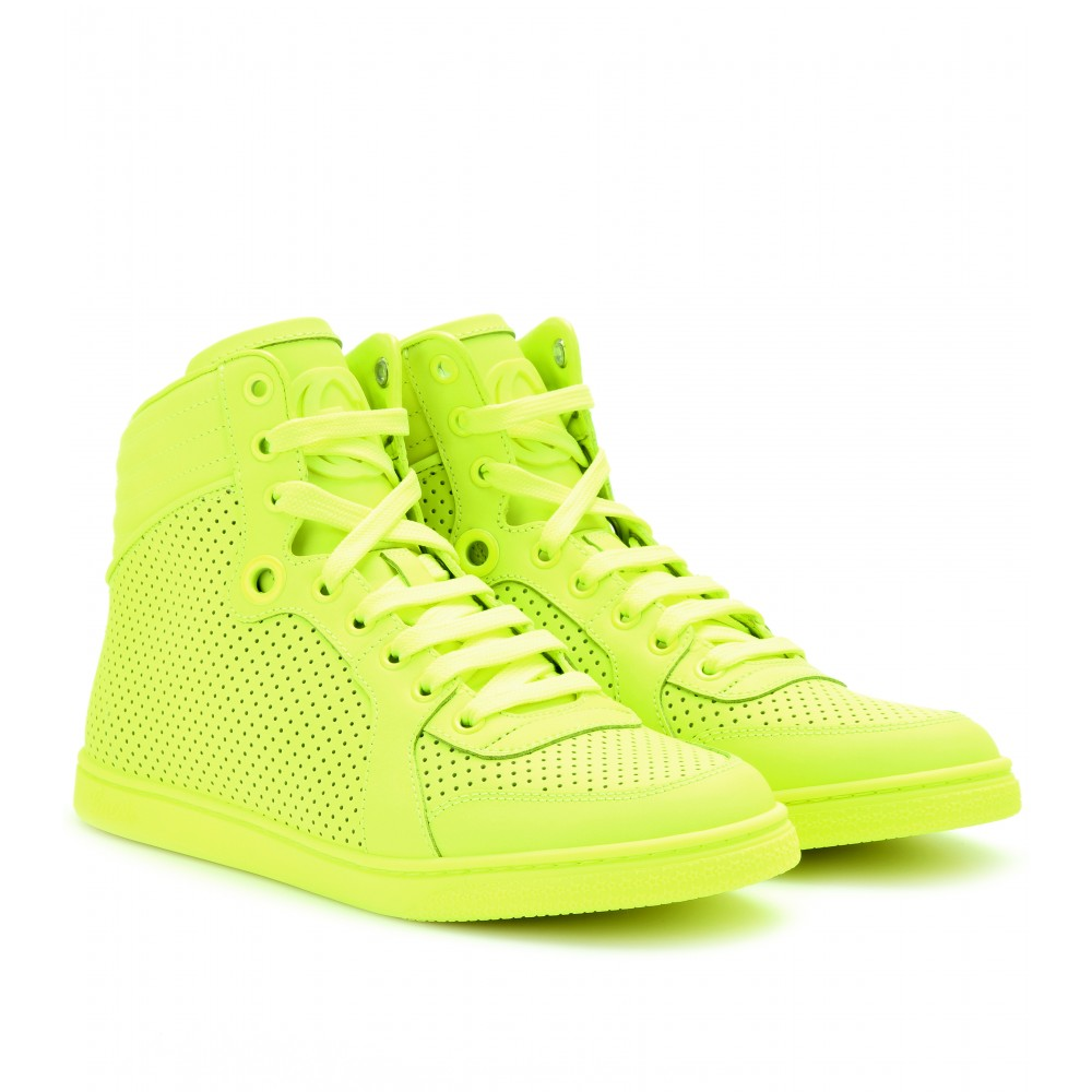 12a6f687e148 Lyst - Gucci Neon Leather Hightop Sneakers in Yellow
