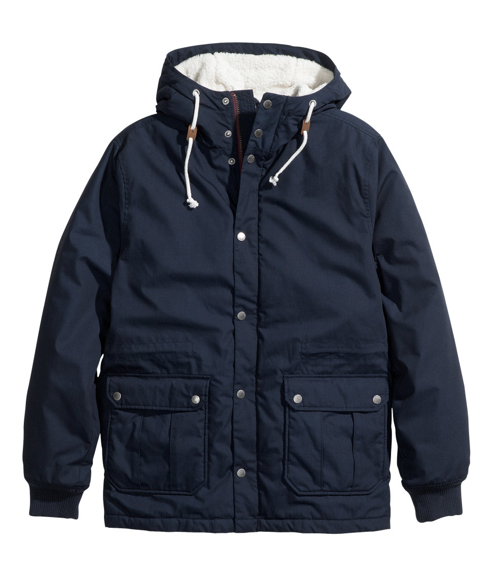 H&m Padded Parka in Blue for Men | Lyst