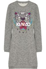 Kenzo Tigerembroidered Cotton Sweatshirt Dress - Lyst