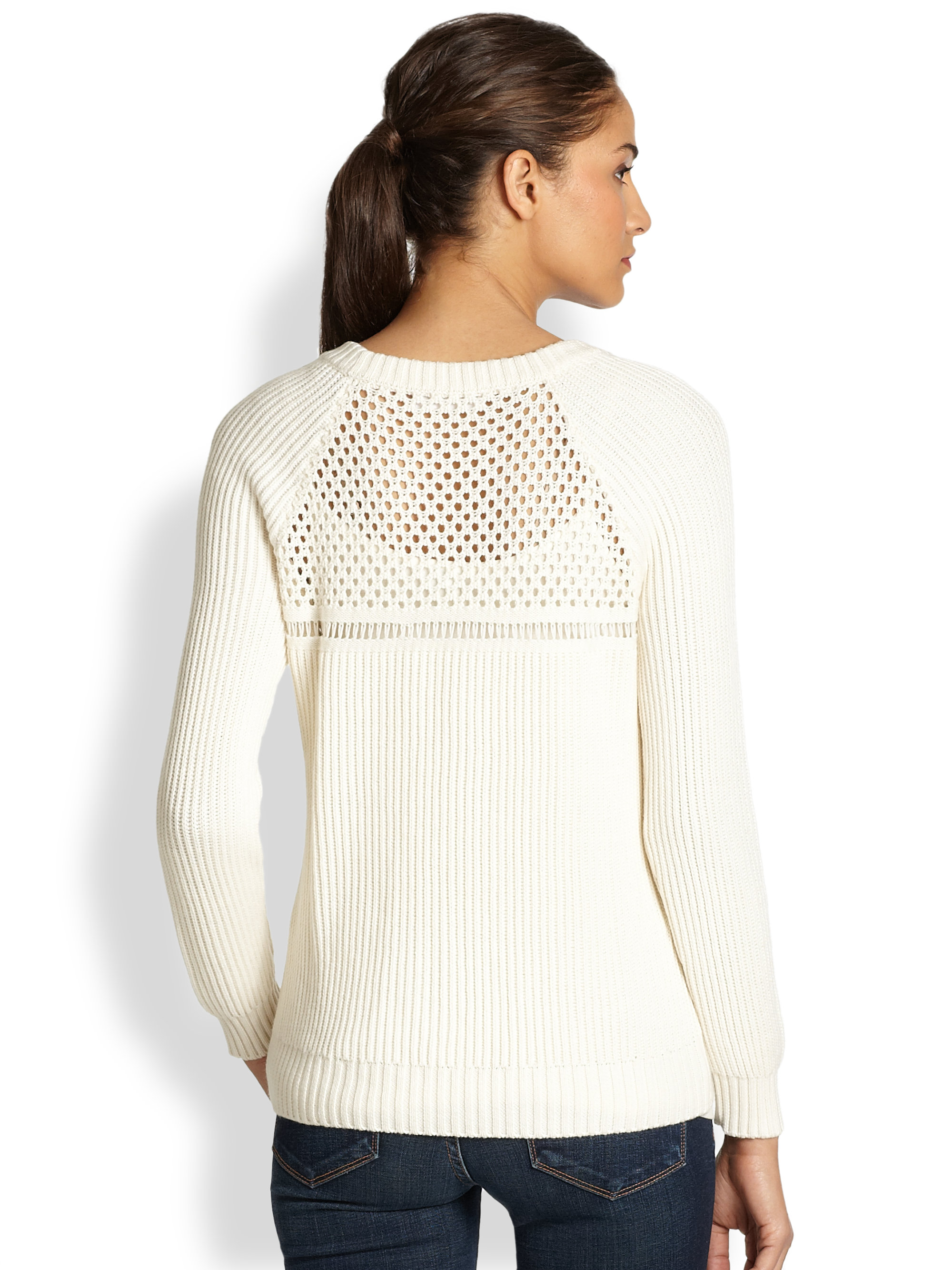 Milly Wool Cotton Fisherman Sweater in Natural | Lyst