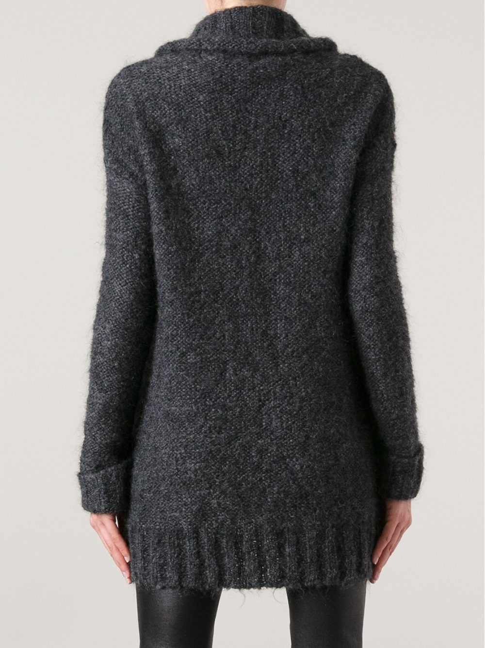 lyst patrizia pepe roll neck sweater in gray. Black Bedroom Furniture Sets. Home Design Ideas