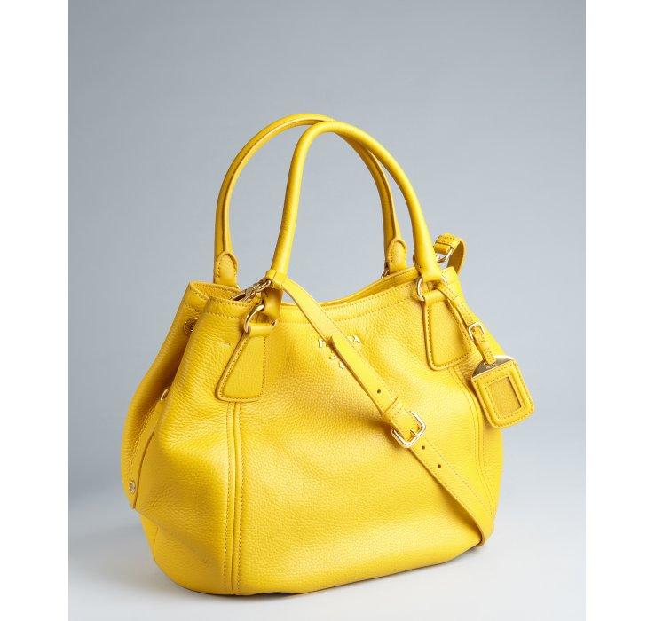 ef765fd70bb ... usa lyst prada mimosa pebbled leather convertible hobo bag in yellow  1253e 2ea62