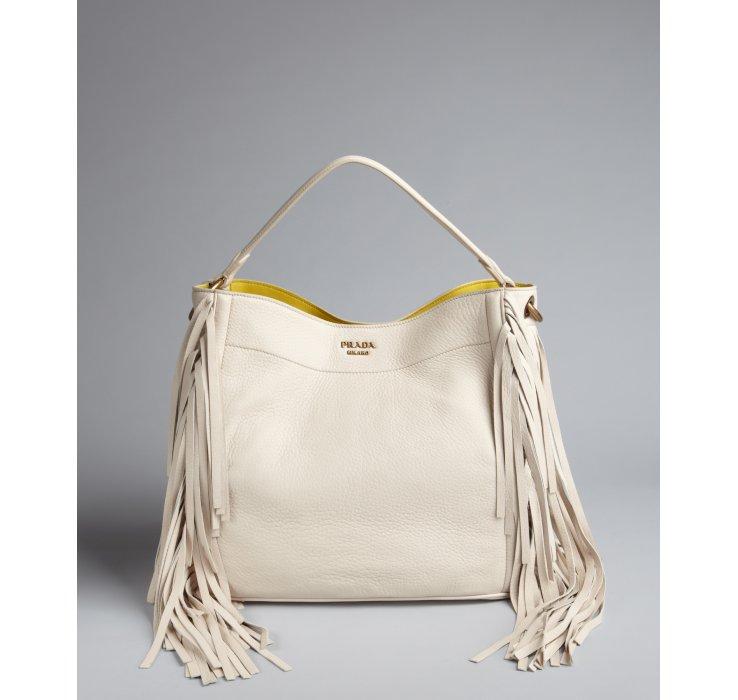 replica prada clutch - Prada White Pebbled Leather Tassel Trim Shoulder Bag in White   Lyst