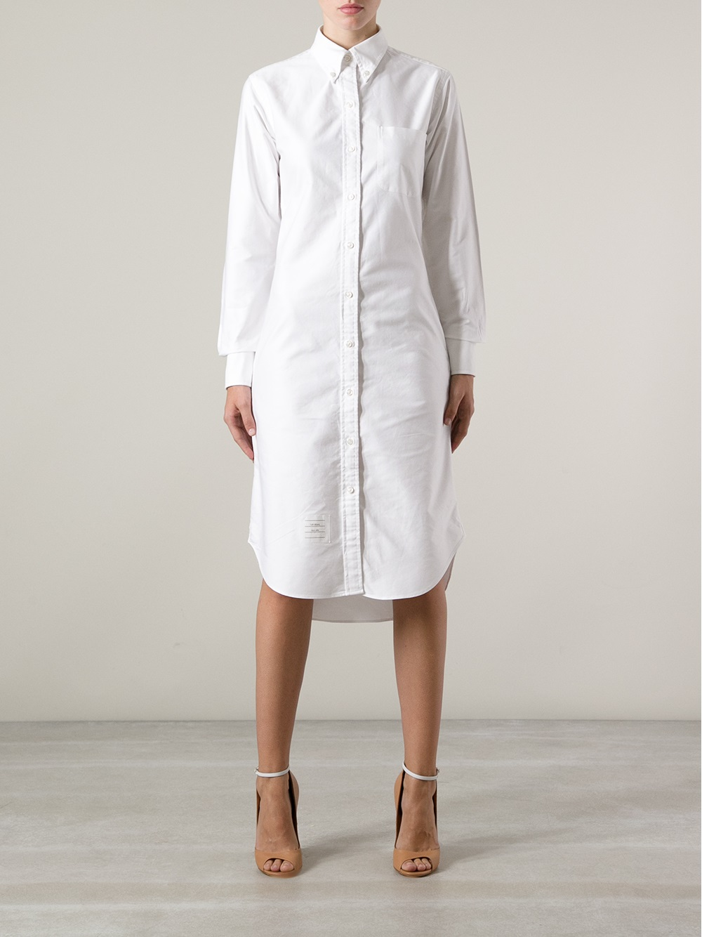 thom browne oxford shirt dress in white lyst