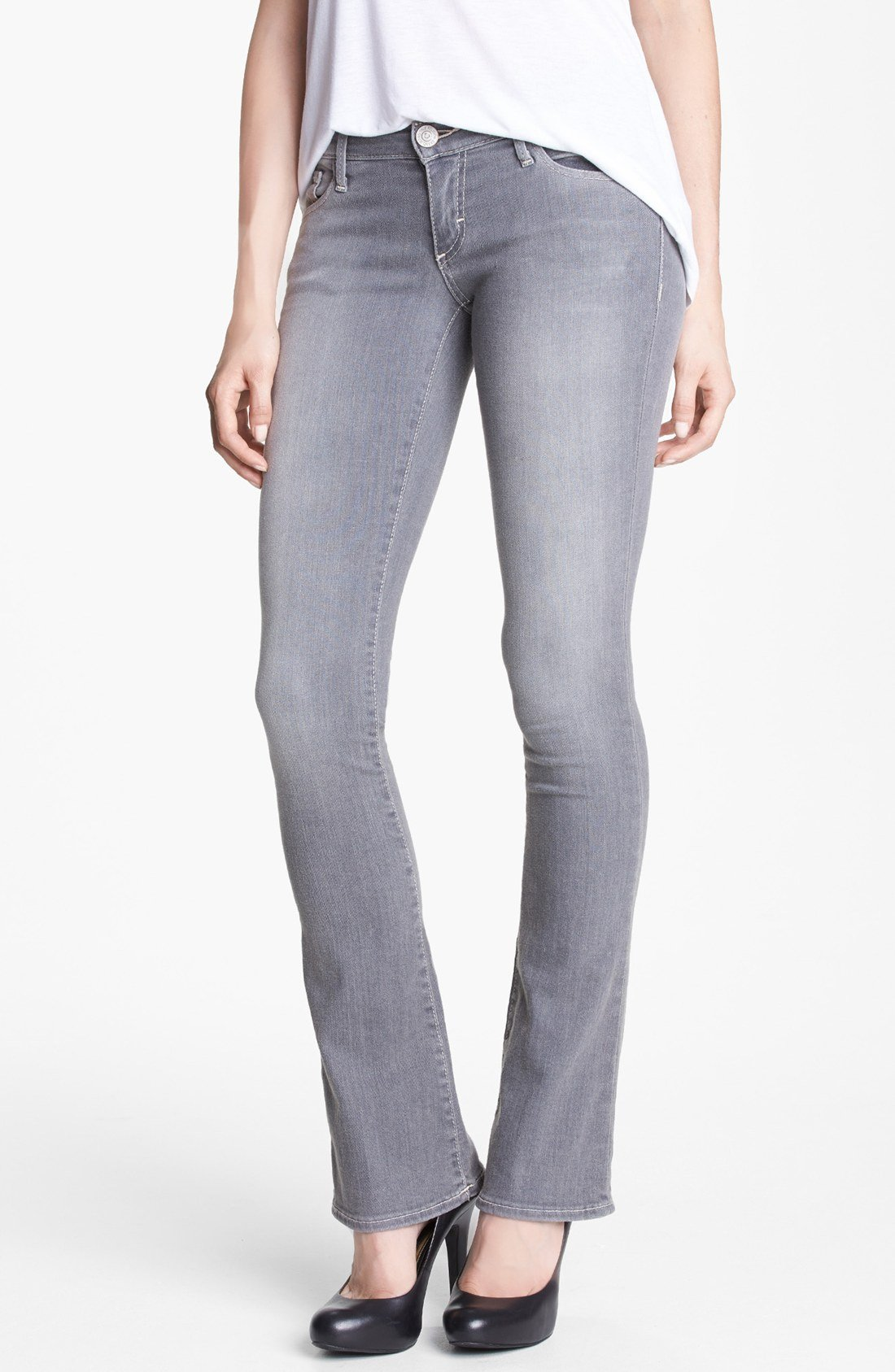 True religion Lexy Mini Bootcut Jeans in Gray | Lyst