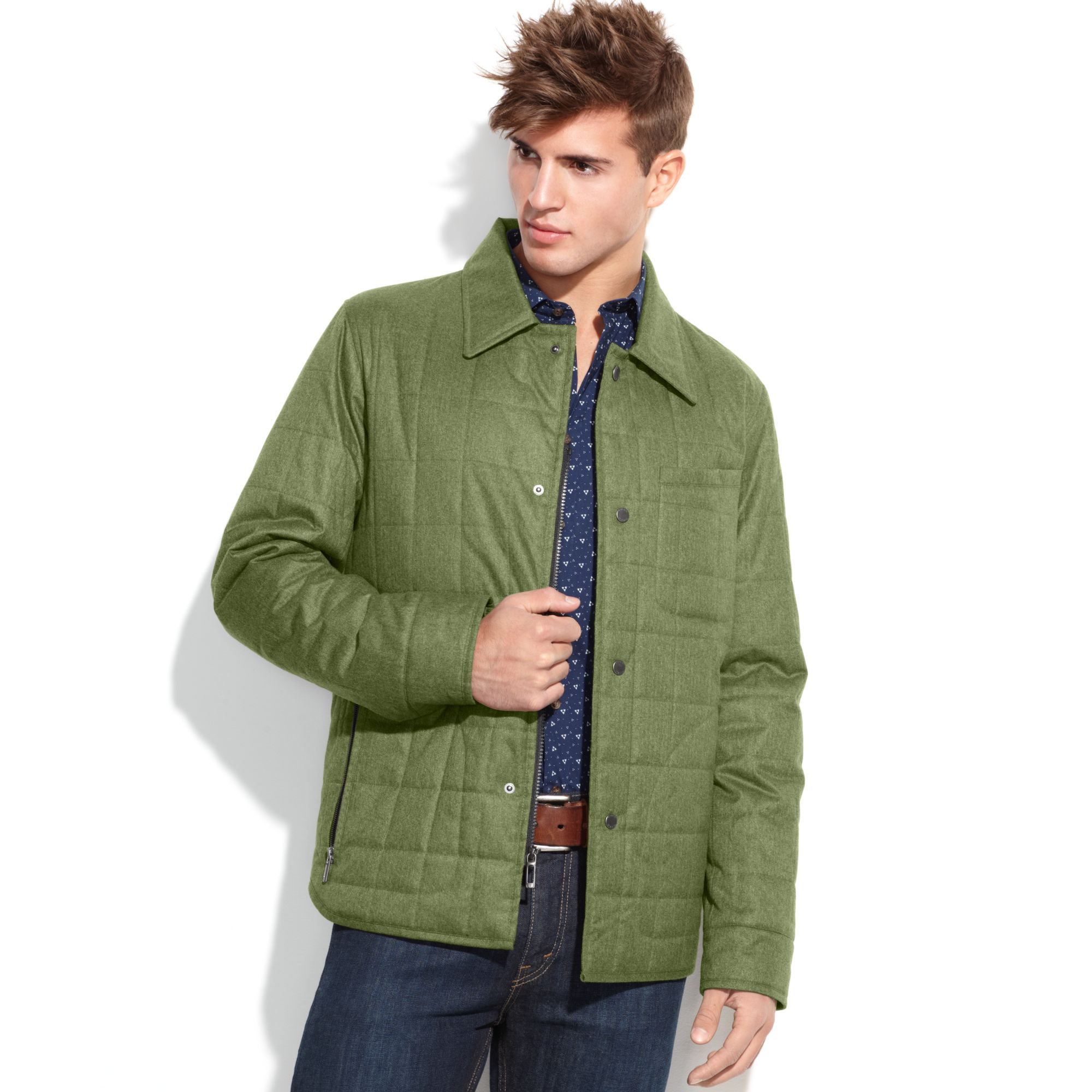 Lyst - Tumi Lightweight Tweed Textured Quilted Shirt Jacket in ...
