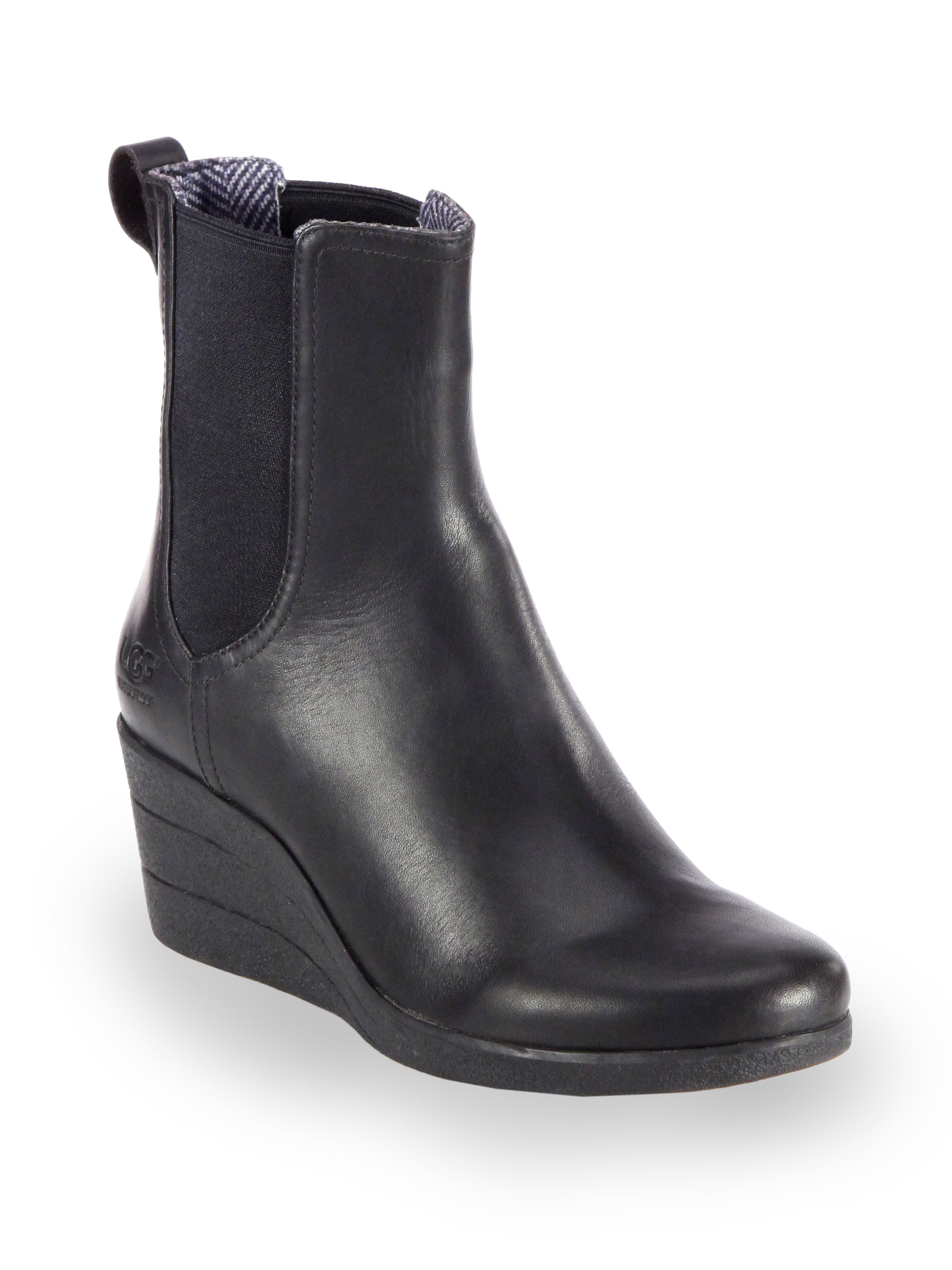 Ugg Dupre Leather Wedge Ankle Boots in Black | Lyst