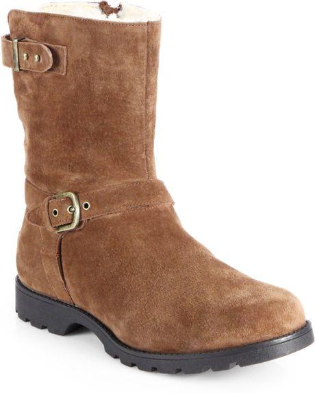 ugg grandle suede motorcycle boots in brown java lyst