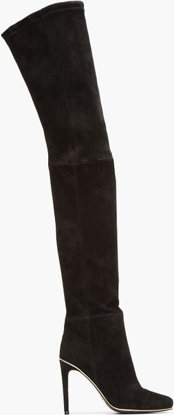 balmain black suede thigh high boots in black lyst