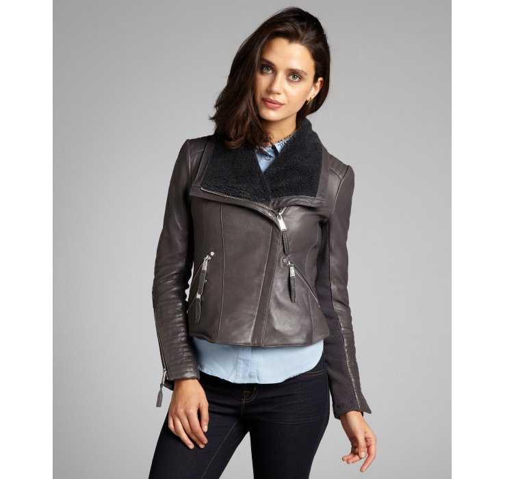 Leather and knit moto jacket