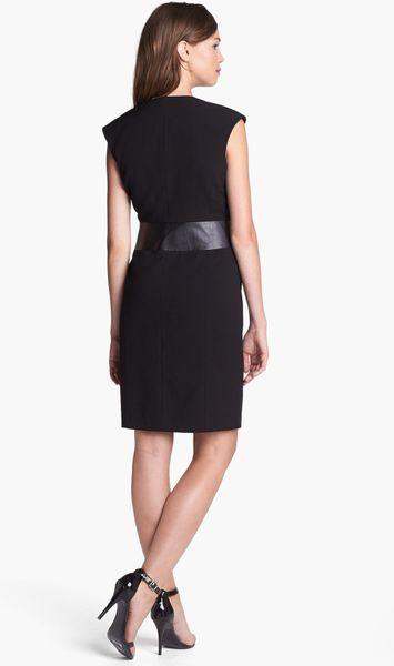 Calvin Klein Faux Leather Waist Wrap Dress In Black Lyst