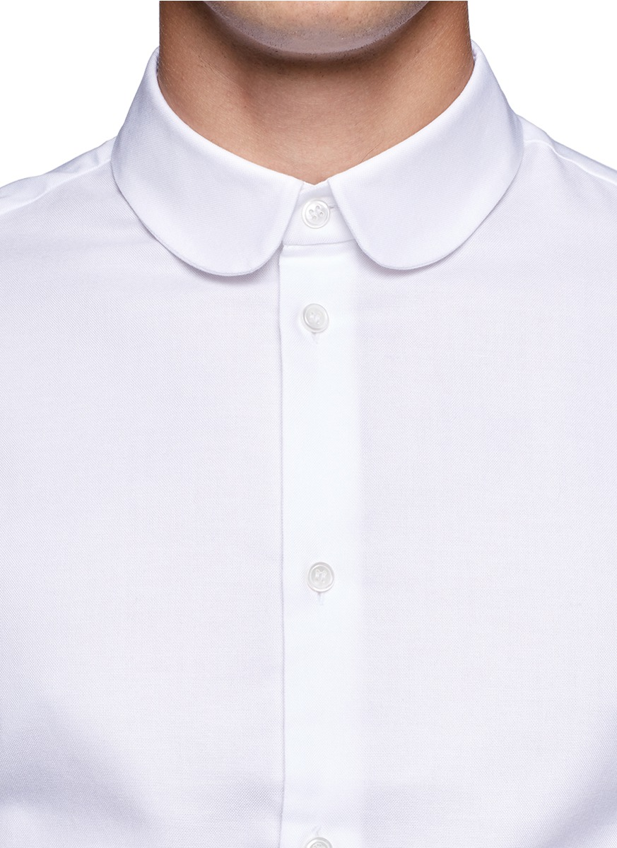 lyst carven round collar cotton shirt in white for men