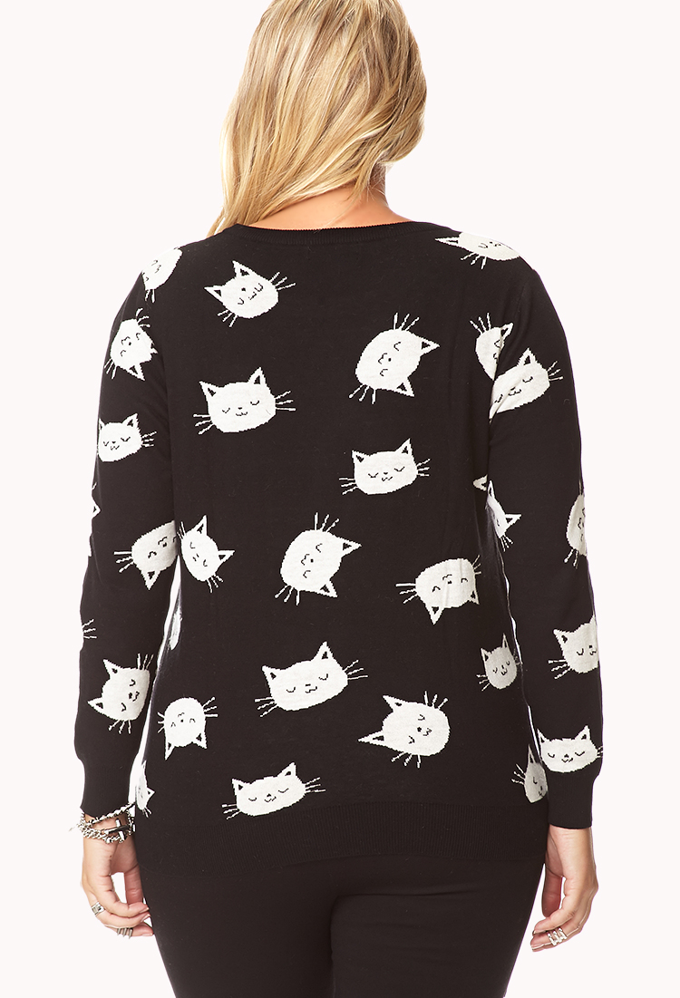 Forever 21 Cool Cat Sweater In White Lyst