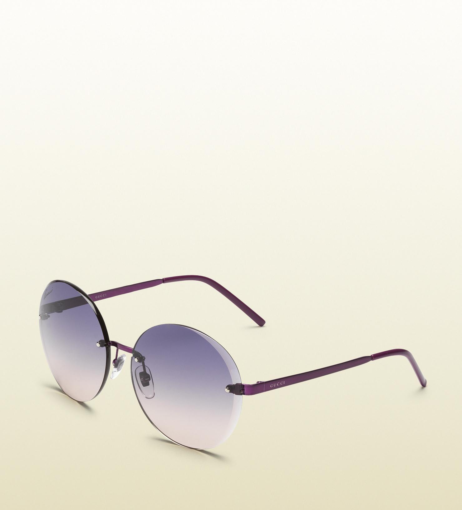 Purple Gucci Sunglasses  gucci flora round rimless sunglasses in purple for men lyst