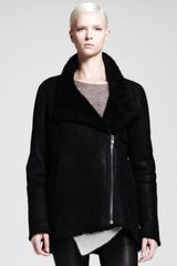 Helmut Lang Wrecked Shearling Zip Coat - Lyst