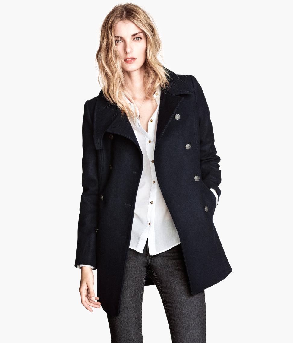 H&m Wool Coat in Blue | Lyst