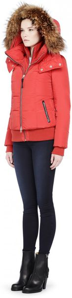 Mackage Romane Short Coral Bomber Down Jacket with Fur ...