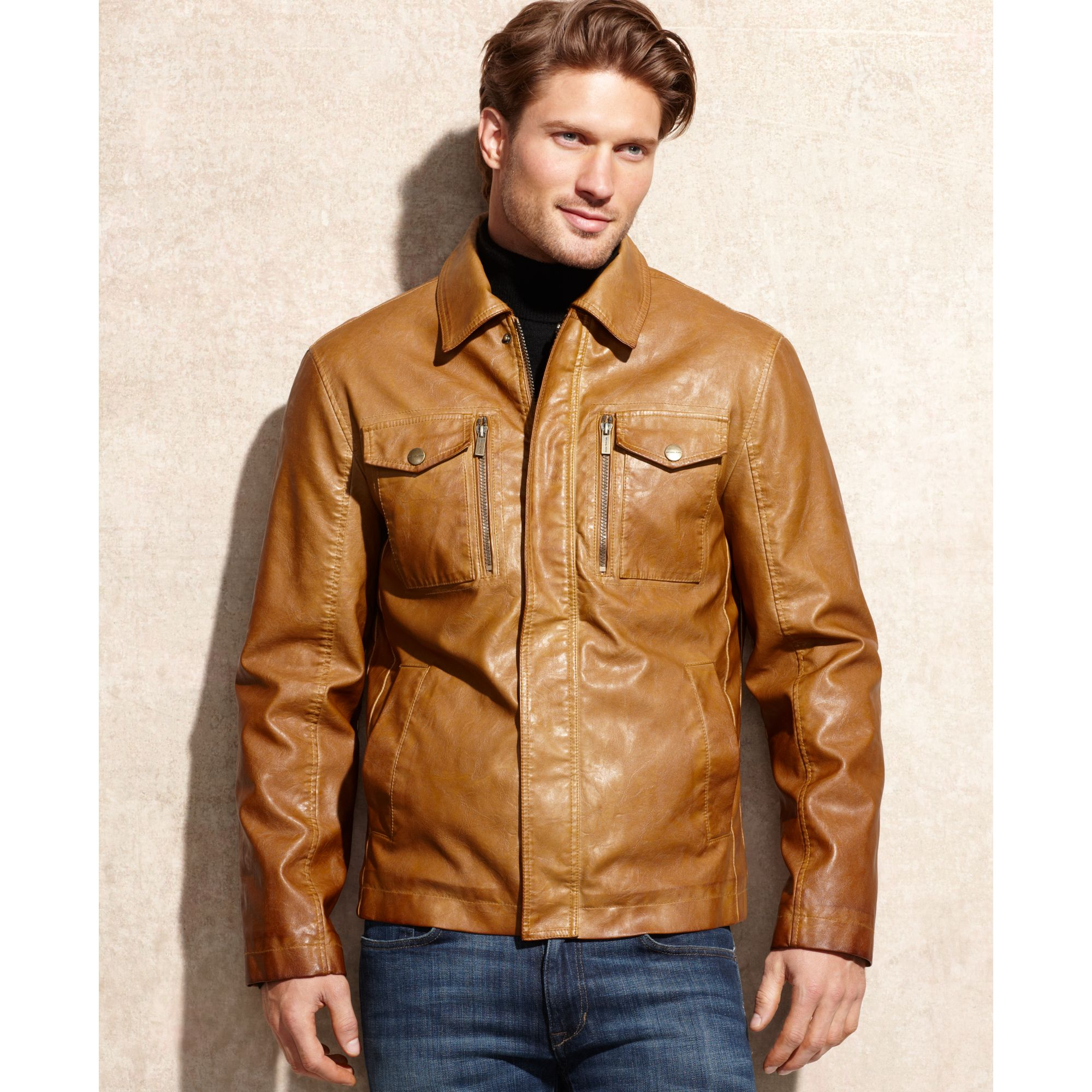Michael Kors Houston Faux Leather Jacket In Brown For Men