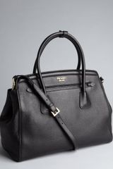 Prada Black Pebbled Leather Convertible Tote - Lyst