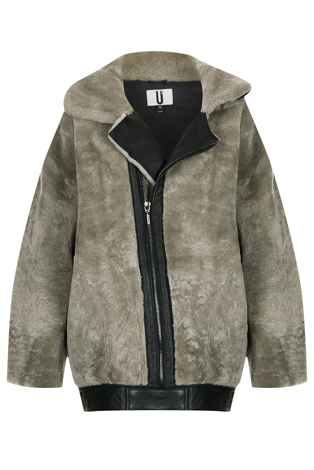 Topshop Shearling Seam Bomber Jacket By Unique in Gray | Lyst