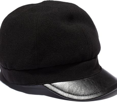 Vince Camuto Wool Cap W Faux Leather Brim in Black