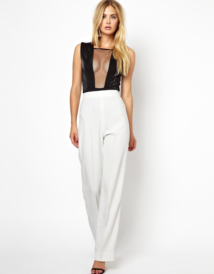 Asos Pant With High Waist And Wide Leg in Natural | Lyst
