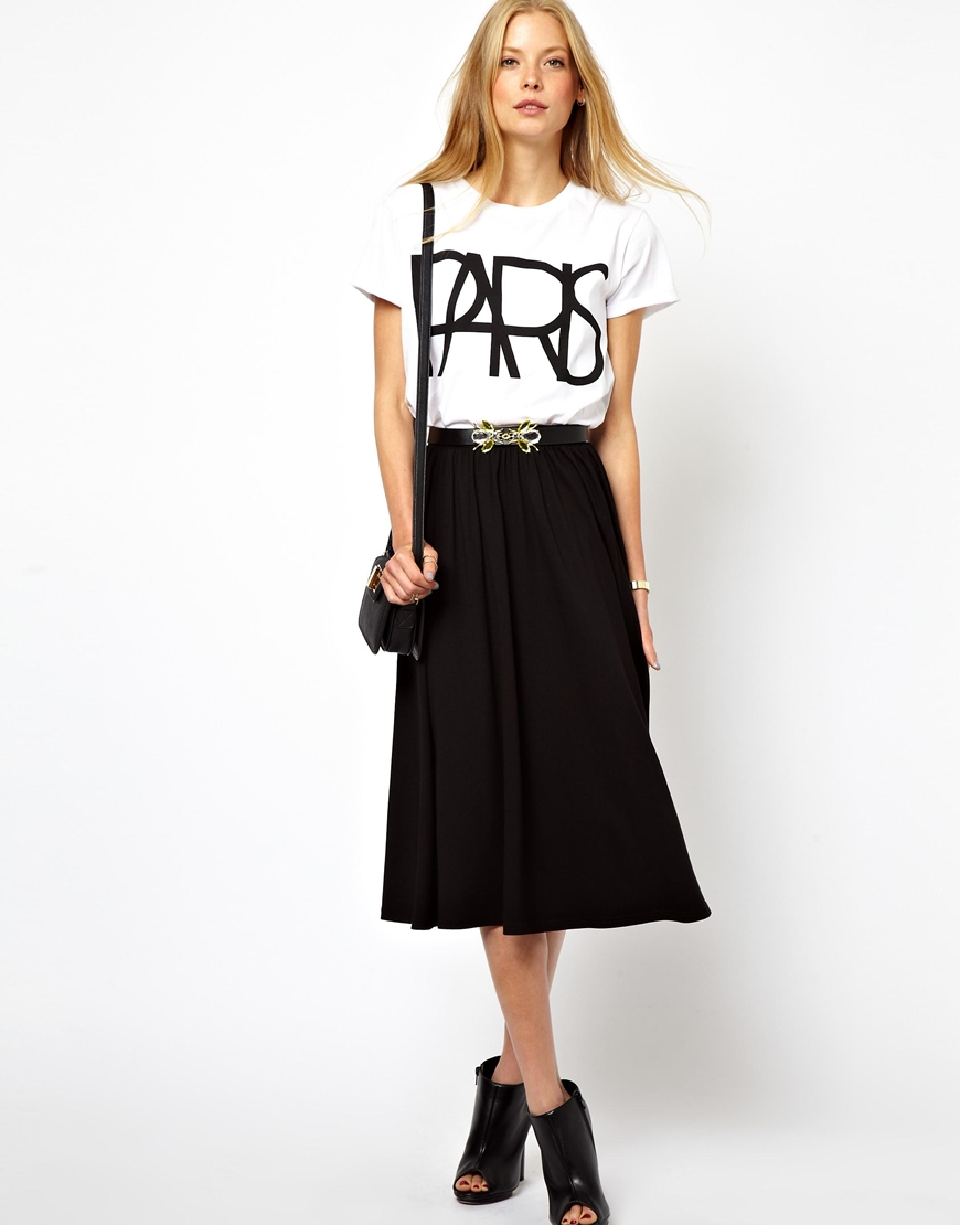 b61f4f0554 Lyst - ASOS Full Midi Skater Skirt in Black