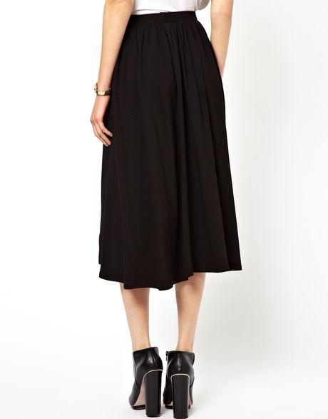 asos midi skater skirt in black lyst