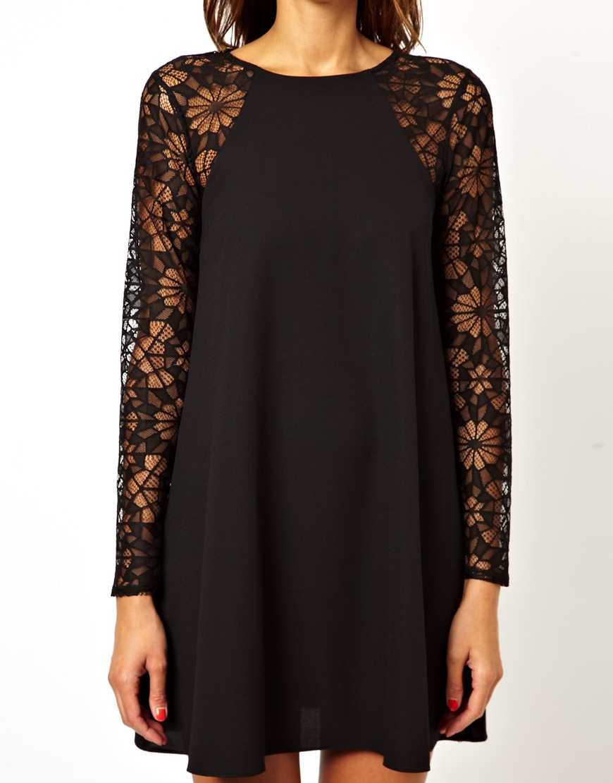 Lyst - ASOS Swing Dress With Lace Sleeves in Black f95e8ede1f