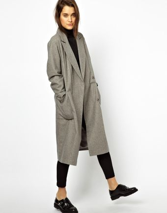 Asos Oversized Wrap Front Coat - Lyst